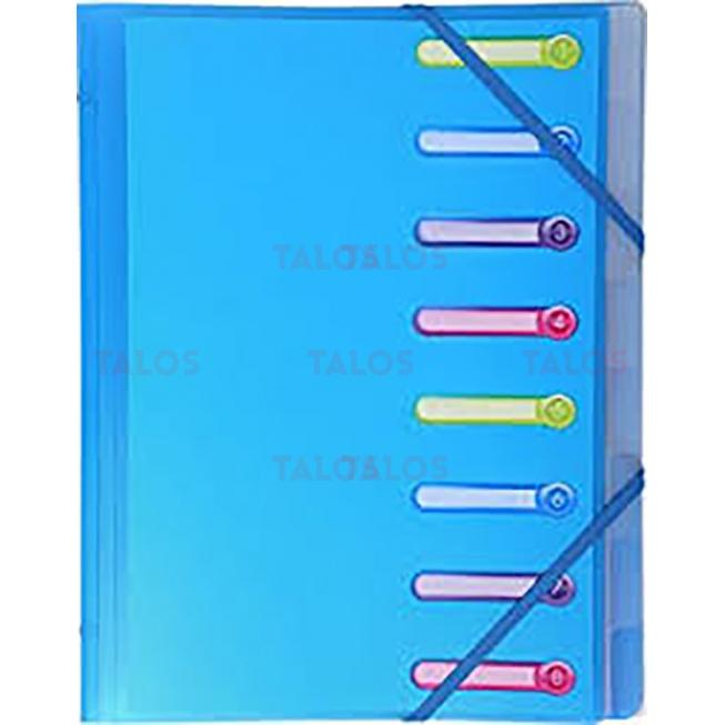 Trieur en polypropylène 3 rabats 8 compartiments Sirocco bleu clair