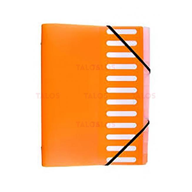 Trieur en polypropylène 3 rabats 8 Compartiments Sirocco Orange
