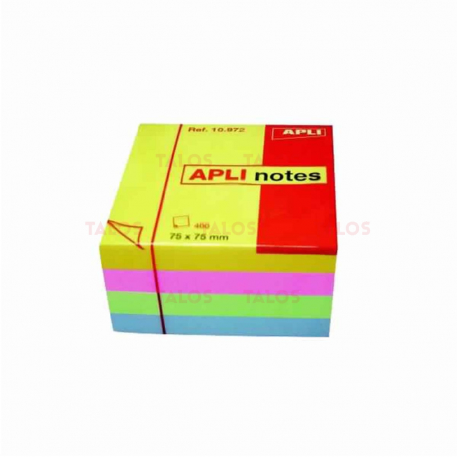 Notes Apli 75x75 mm cube brillant de 400 feuilles couleur assorties
