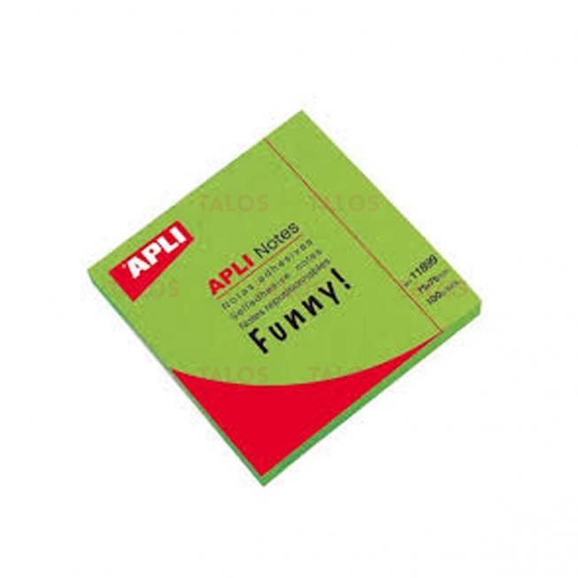 Bloc notes Apli 75x75 mm vert brillant 100 feuilles