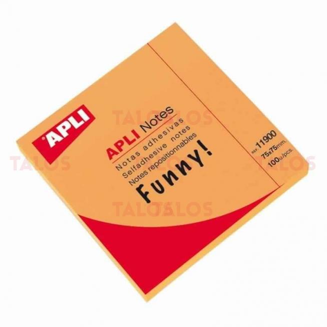 Bloc notes Apli 75x75 mm orange brillant 100 feuilles