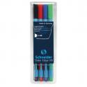 Pochette de 4 stylos Schneider Slider edge XB couleurs basics