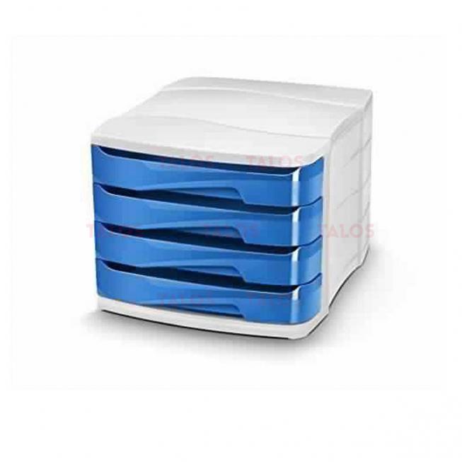Bloc de 4 tiroirs transparent Smile bleu Arda