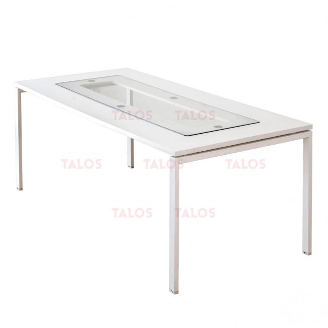 Table de réunion Tempo en blanc 240*110