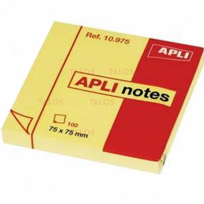Notes repositionnable Apli 75x75 mm jaune bloc de 100 feuilles