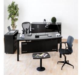 Bureau Krea en PVC avec extension en Noir