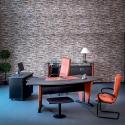 Bureau Padova en PVC Wengué piétements et socle en simili cuir