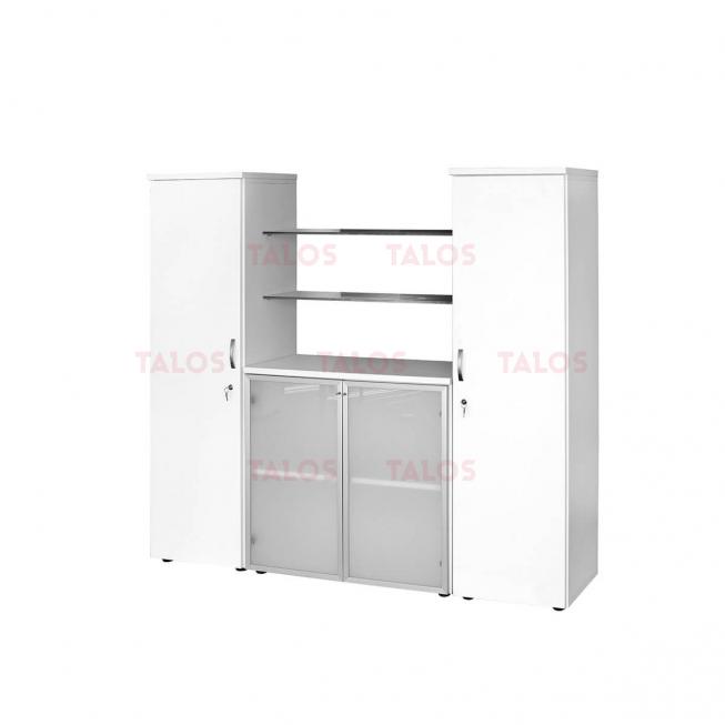 Elément Triple à 2 portes bas aluminium verre sablé et 2 porte moyen