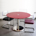 Table de réunion Clio diamètre 100 en verre socle Inox