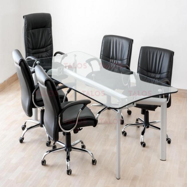 Table de réunion Icaro 220x110 en verre clair