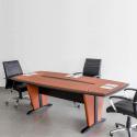 Table de réunion Padova PVC 240cm Pied Dynamique avec Sous-Mains