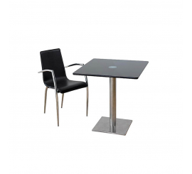 Table Inox carré 70x70 en verre