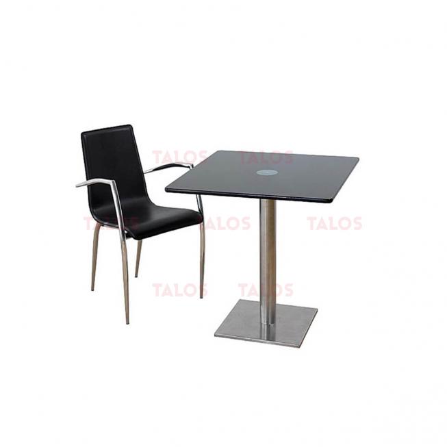 Table Inox carré 80x80 en verre