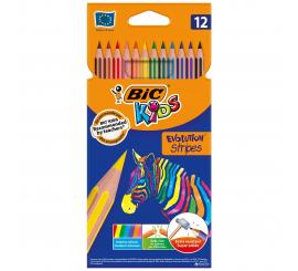 Paquet de 12 crayons couleurs BIC Evolution stripes