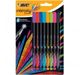 Pack de 8 stylos point fine BIC intensity couleurs assorties