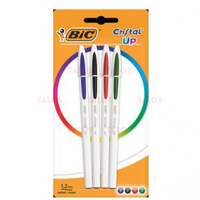 BIC Stylo à bille Cristal Up pochette de 4 couleurs assorties