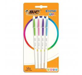 BIC Stylo à bille Cristal Up pochette de 4 couleurs fun assortis