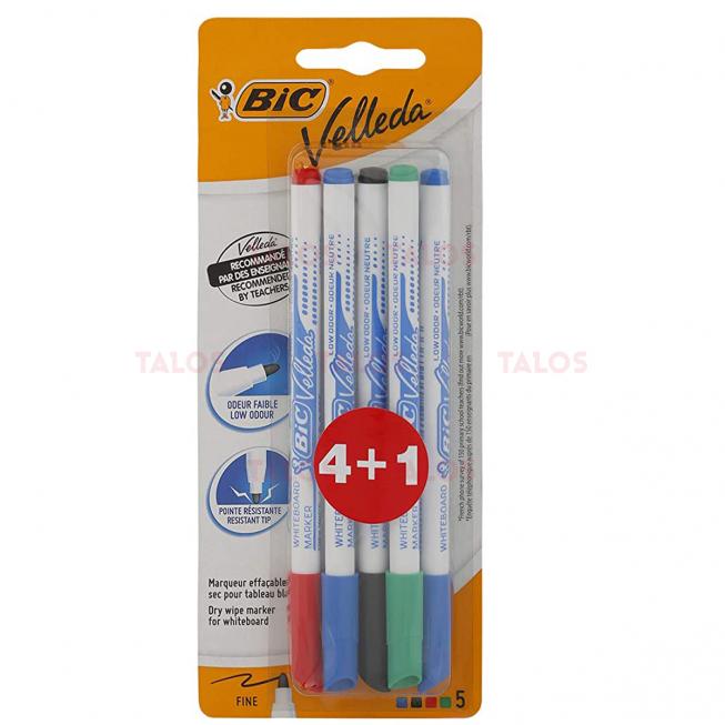 Lot de 4 stylos feutres effaçables à sec bic velleda +1 gratuit
