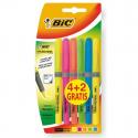 Pochette de 4 surligneurs BIC BRITE LINER couleurs assorties +2 gratuit