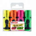 Pochette de 4 mini marqueurs fluo EDDING E7 couleurs assorties