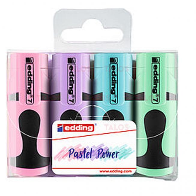 Pochette de 4 mini marqueurs Edding E7 couleurs pastels