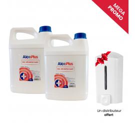 Pack de 2 bidon gel hydroalcoolique 5L + 1 distributeur 1L offert